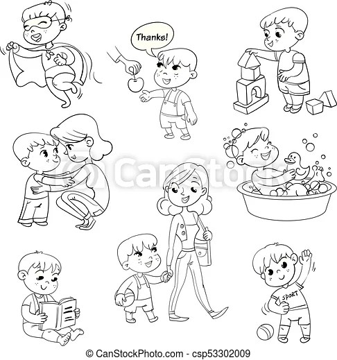 Cartoon kid daily routine activities set. boy goes for a
