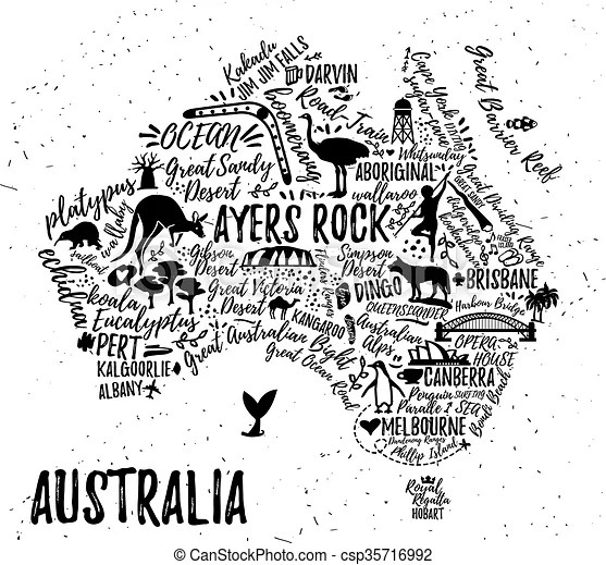 Cartoon map of australia. Australia map with landscape and