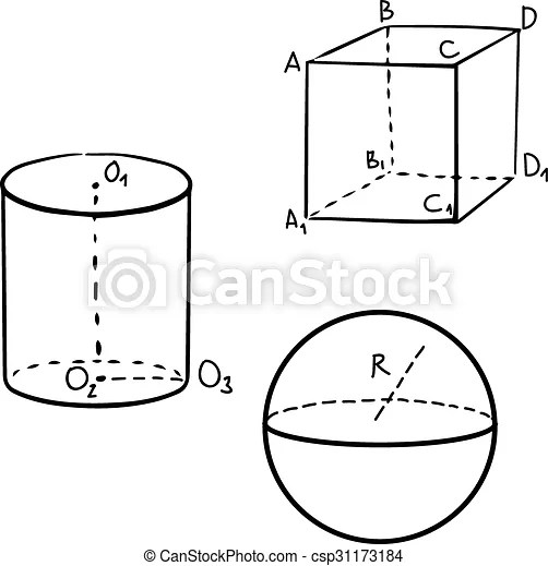 Geometric cube, sphere and cylinder shapes. Geometric