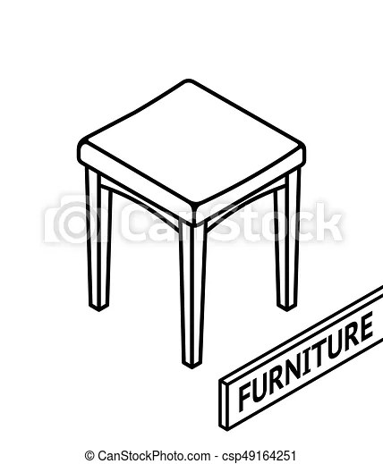 Isometric outline furniture. 3d line drawn isometric stool