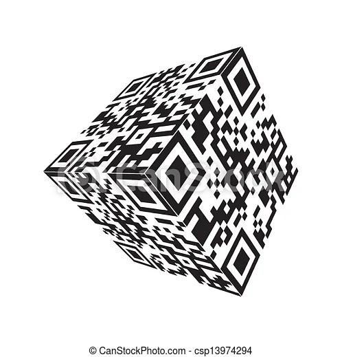 Modern cube qr code vector.