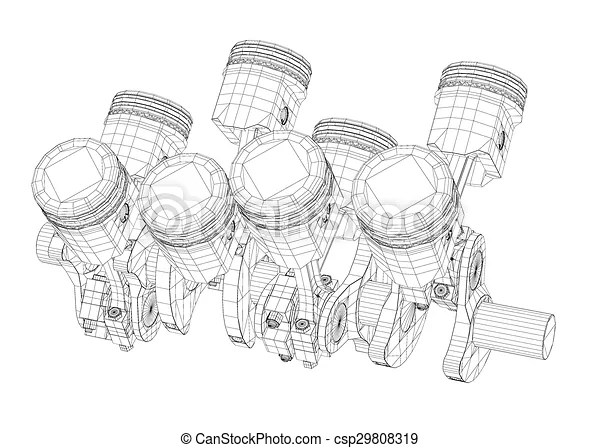 Pistons, v8 engine, body structure, wire model.