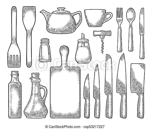 Set kitchen utensils. vector vintage engraving. Set