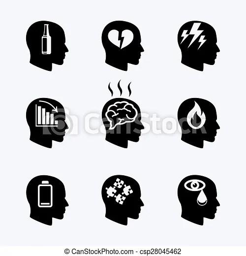 Depression, stress concept or mental health icons set