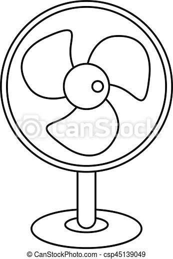 Electric table fan icon, outline style. Electric table fan