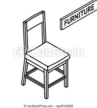 Isometric outline furniture. 3d line drawn isometric chair ...