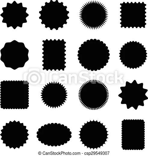 Stamp and frame shapes Set of 16 stamp and frame shapes