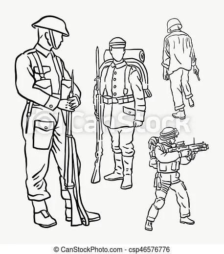 Ação, soldado, exército, desenho, mão. Mascote, ou, uso
