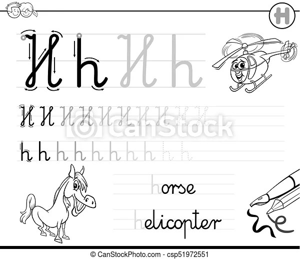Crianças, h, escreva, letra, aprender, manual instruções