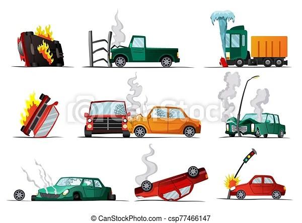 Accident On Road Car Damaged Vehicle Illustration Of Crash Vehicle Damage Auto Insurance Case Vector Set Of Broken