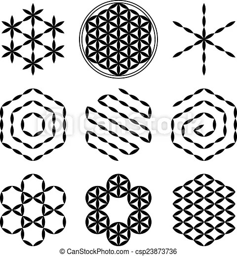 Flower of life extracts. Eight extracted patterns from the