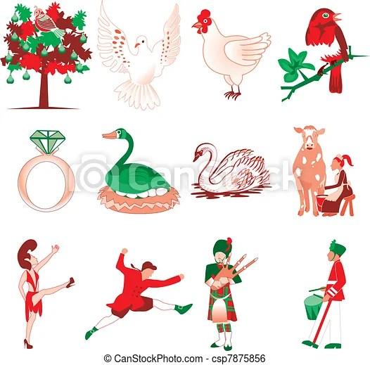 12 days of christmas. vector illustration