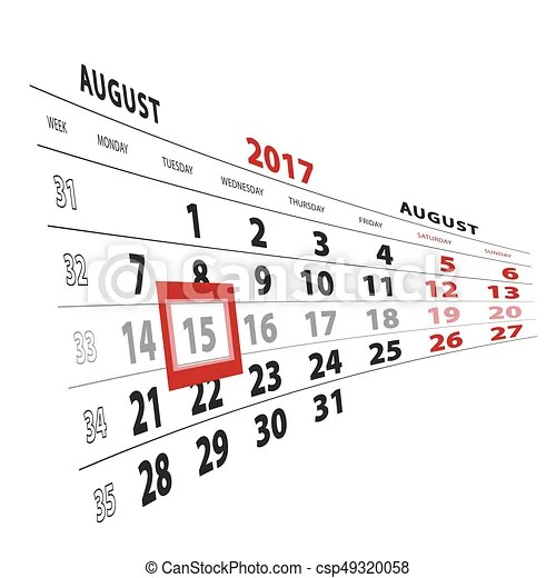 15 august highlighted on calendar 2017. week starts from
