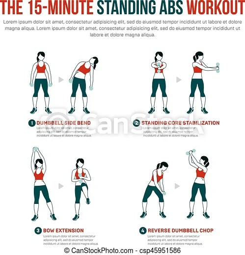 15 minute standing abs workout. fitness, aerobic and workout exercise in gym. vector set of gym icons in flat style isolated on white background ...