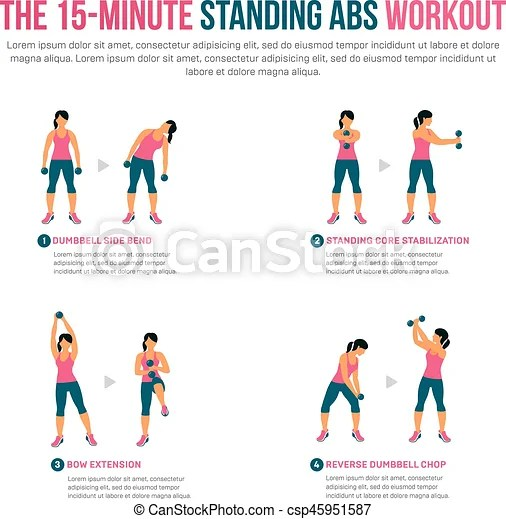 15 minute standing abs workout. fitness, aerobic and workout exercise in gym. vector set of gym icons in flat style isolated
