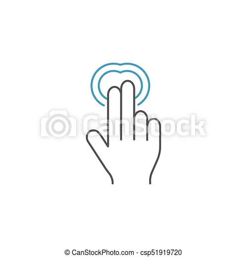 2 finger double tap line icon, hand gestures. 2 finger