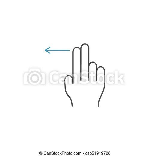 2 finger swipe left line icon, hand gestures. 2 finger