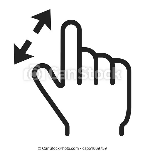 2 finger zoom in line icon, touch and gesture. 2 finger
