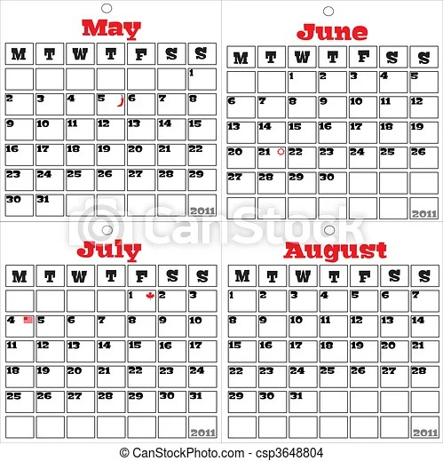 2011 calendar the second four month. A vector calendar for