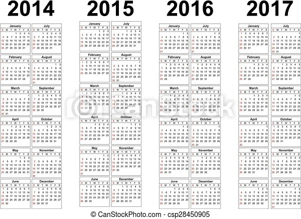 Set of square european 2014, 2015, 2016, 2017 year vector