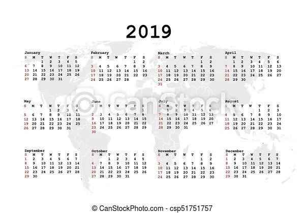 2019 calendar for agenda with world map.