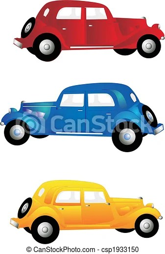 Vintage Car Clipart : vintage, clipart, Vintage, Cars., Three, Blue,, Yellow, More.., CanStock