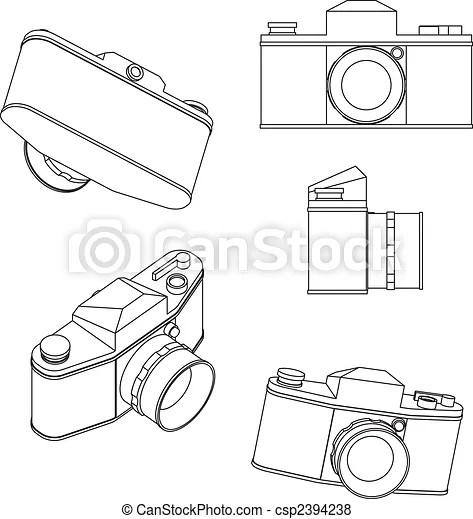 35mm slr. Vector drawings of old 35 exakta camera vector