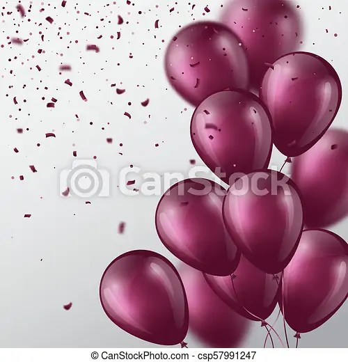 3d balloons with confetti