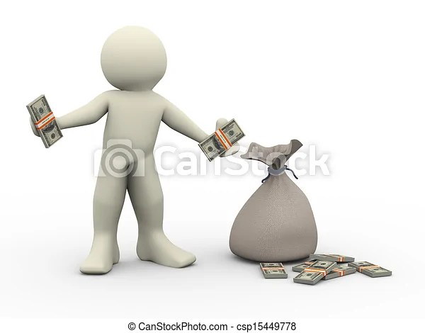 3d man with money bags. illustration