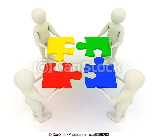 3d men holding assembled jigsaw puzzle pieces. Four 3d men assembling colorful, assembled jigsaw puzzle pieces. | CanStock