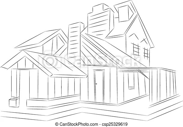 3d rendering wire-frame of house. white background.