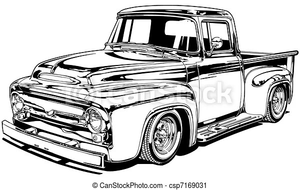 56 vintage custom pickup. Black line illustration.