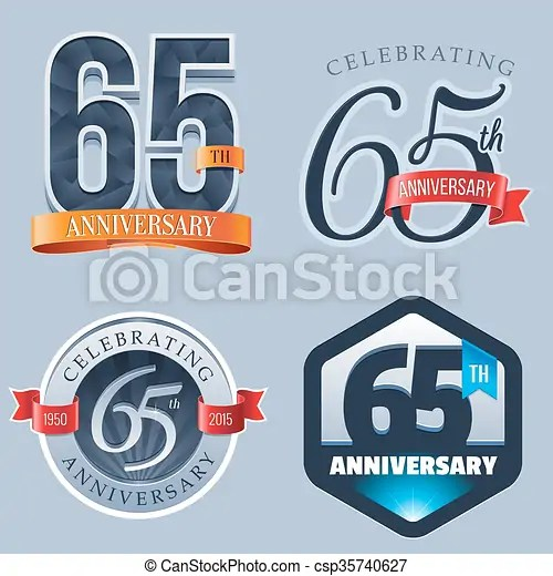 65th anniversary logo. set of