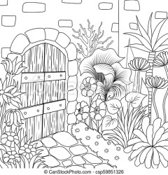 9 garden 3 Simple line art of beautiful garden for coloring book page vector illustration CanStock