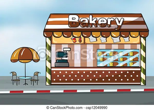 Illustration of a bakery shop near a street eps vectors - Search Clip Art, Illustration, Drawings and Images - csp12049990
