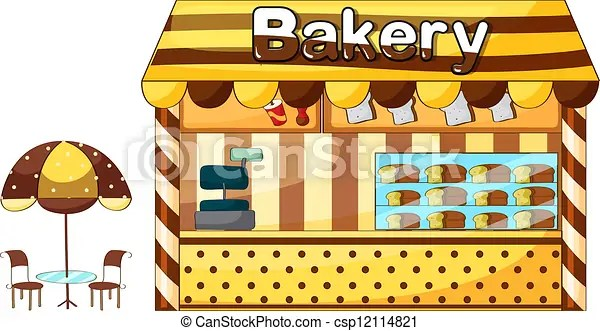 Illustration of a bakery shop on a white background vector illustration - Search Clipart, Drawings, and EPS Graphics Images - csp12114821