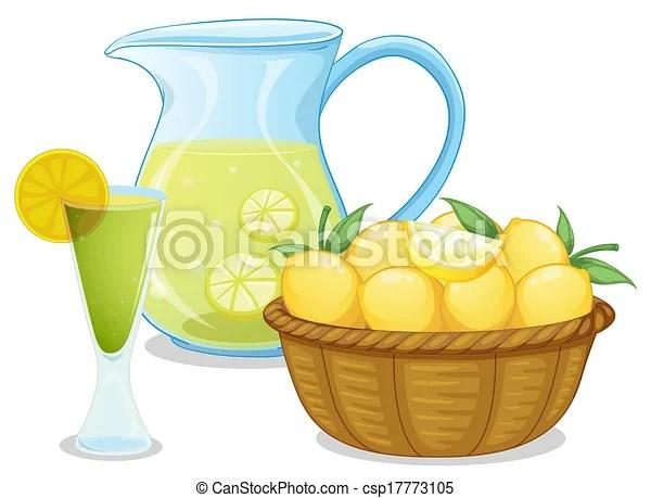 basket of lemon pitcher