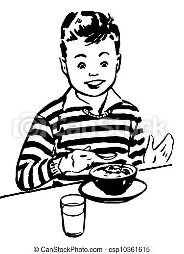 Dinner Clipart Black And White : dinner, clipart, black, white, Black, White, Version, Young, Enjoying, Dinner., CanStock