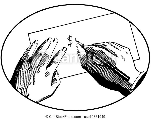A black and white version of an illustration of two hands