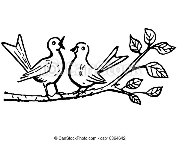 A black and white version of two birds on a tree branch