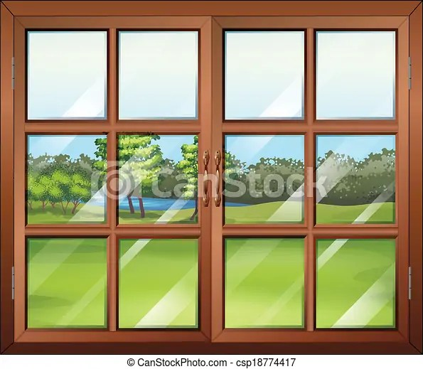 closed wooden window with glass