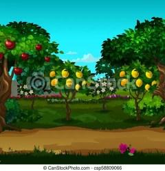 A garden with ripe fruit vector cartoon close up illustration A garden with ripe fruit vector cartoon close up CanStock