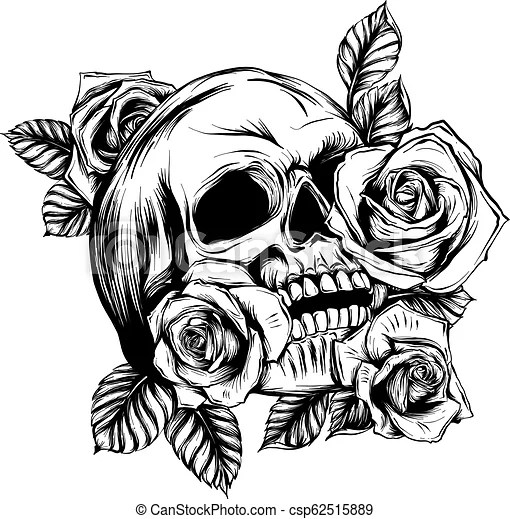 Skeleton Pattern Wallpaper Cute A Human Skulls With Roses On White Background Skulls With