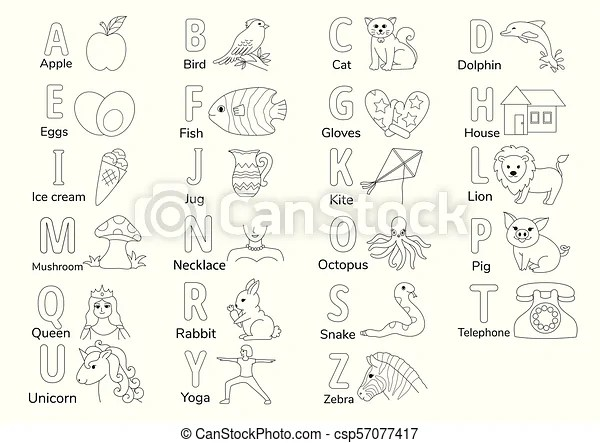 A to z. Colorless alphabets with illustration a to z for