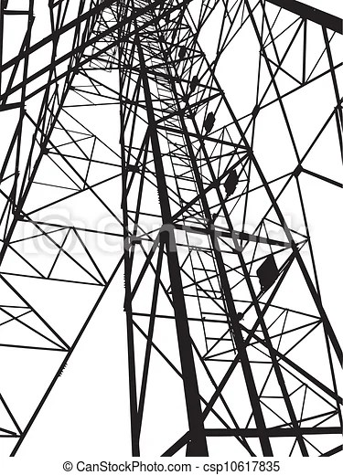 Abstract electrical tower illustration.