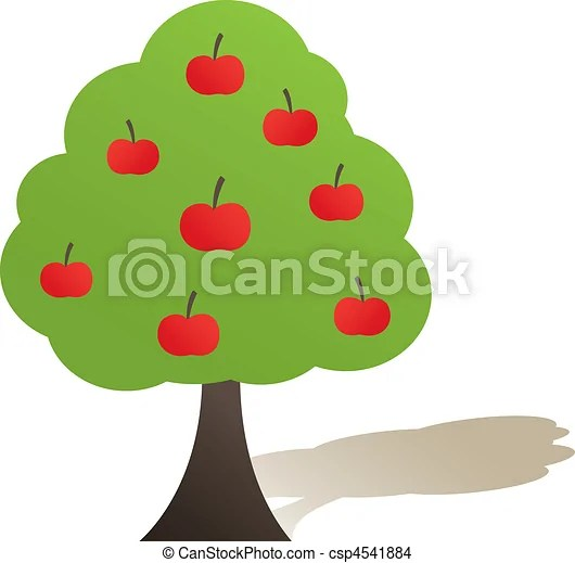 abstract green tree with red apple