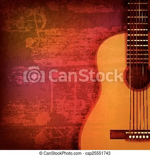 Abstract grunge piano background with acoustic guitar. Abstract red sound grunge background with acoustic guitar.