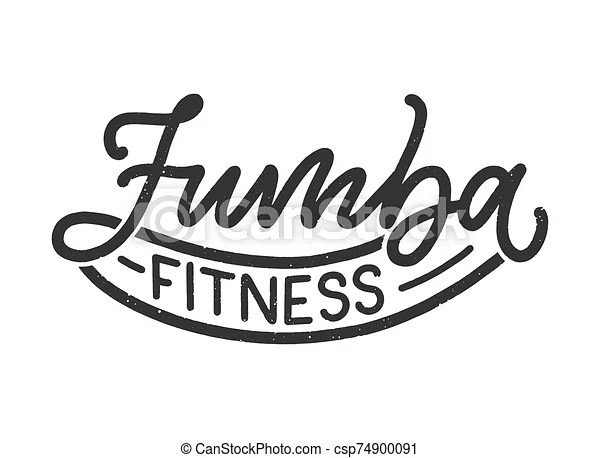 Abstract lettering about zumba fitness for logotype or