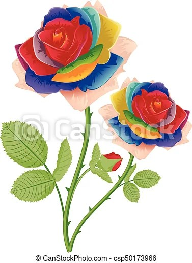 Rainbow Rose Drawing : rainbow, drawing, Abstract, Rainbow, Roses., Vintage, Flower, Ornament, Roses,, Floral, Composition., CanStock