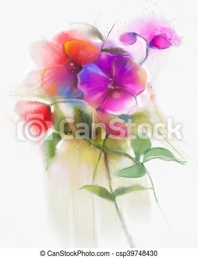 abstract watercolor orchid flowers